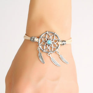 Handmade Mini Dreamcatcher Bracelet With Alloy Feather