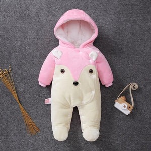 Baby Warm Cotton Rompers Jumpsuit Outwear Hoody