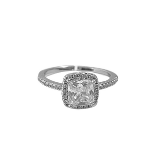 square cubic zirconia promise ring with cubic zirconia stones on band, adjustable to fit any size, white background with ring pictured here