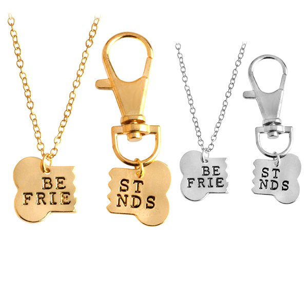 Best Friend Dog Bone Pendant Keychain Set - Florence Scovel - 1