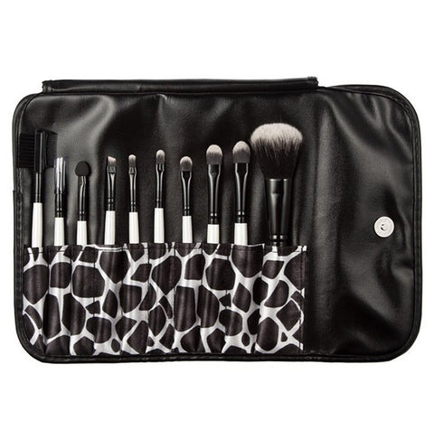 10 Pcs Wood Eyeshadow Brush Set With Printed Pouch Bag