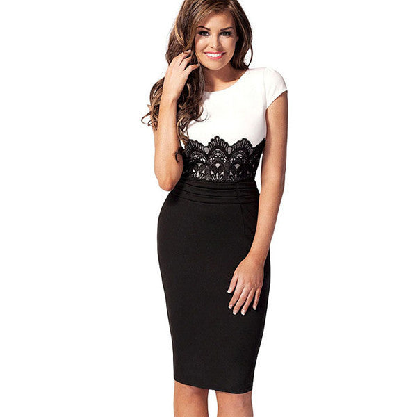 Slim-Fit Midi-Dress with Lace Trim