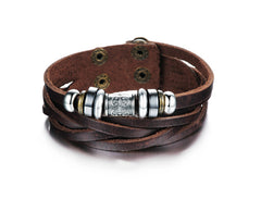 Genuine Leather Heavy Charm Men's Stainless Steel Bracelet - Florence Scovel - 2