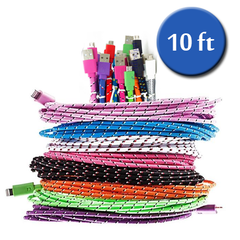 Extra Long (10 Ft) Fiber Cloth Sync & Charge USB Android Cable - Assorted Colors - BoardwalkBuy - 4