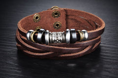 Genuine Leather Heavy Charm Men's Stainless Steel Bracelet - Florence Scovel - 4