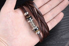 Genuine Leather Heavy Charm Men's Stainless Steel Bracelet - Florence Scovel - 5