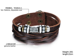 Genuine Leather Heavy Charm Men's Stainless Steel Bracelet - Florence Scovel - 6
