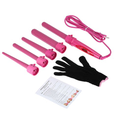 5 Professional Curling Wand Set 85W 100-240V with Heat Resistant Glove