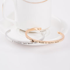 A Smooth Sea Never Made A Skillful Sailor Cuff Bangle - Florence Scovel - 3