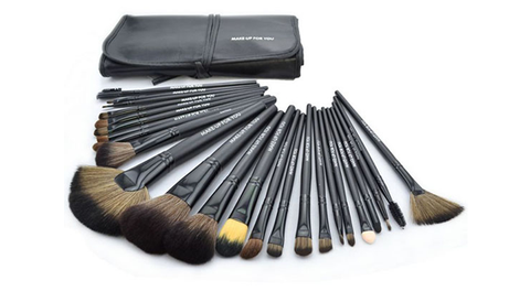 24-Piece Set: Professional Makeup Brush Kit with Roll-Up Carrying Case - Black