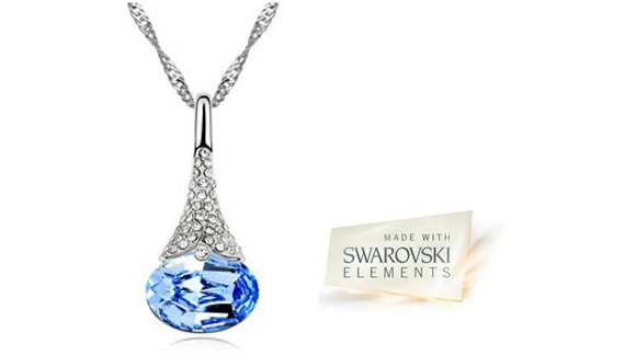 Swarovski Crystal Water Drop Pendant Necklace - Assorted Colors