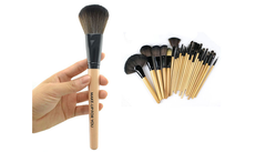 24-Piece Set: Professional Makeup Brush Kit with Roll-Up Carrying Case - Brown