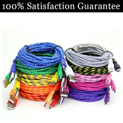 Extra Long (10 Ft) Fiber Cloth Sync & Charge USB Android Cable - Assorted Colors - BoardwalkBuy - 1