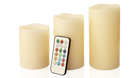 "3-Piece LED Wax Candle Set w/ Built-In Timer & Remote Control – Includes 4"", 5"" & 6"" Wax Candles"