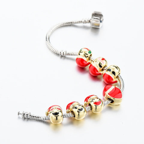 Emoji Charm Silver Chain Christmas Bracelets For Women