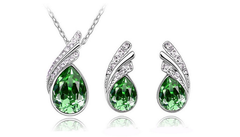 Three Piece Sparkling Gemstone Jewelry Set - Assorted Colors