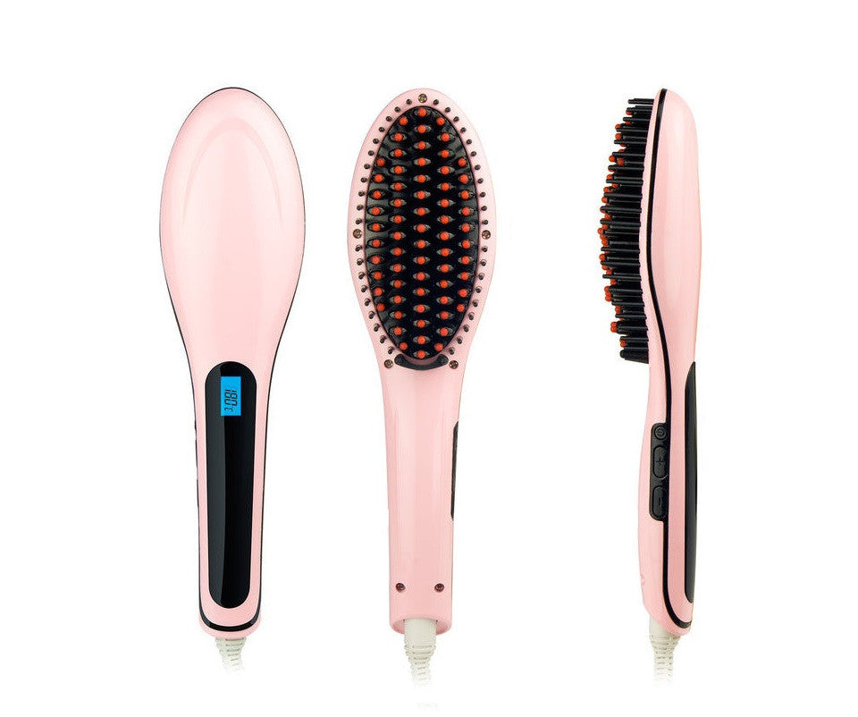 Flat Iron Hair Straightener Brush Comb Ceramic Hair