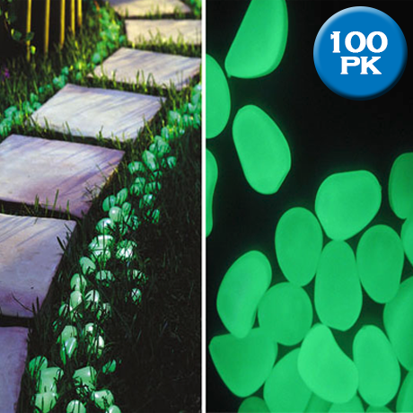 100 Glow in the Dark Pebbles for Walkways