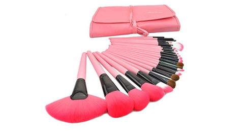 24-Piece Set: Professional Makeup Brush Kit with Roll-Up Carrying Case - Pink