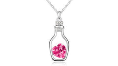 Crystal Love Bottle Silver Overlay Pendant Necklace - Assorted Colors