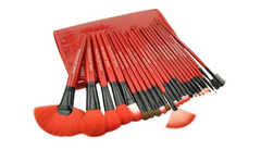 24-Piece Set: Professional Makeup Brush Kit with Roll-Up Carrying Case - Red