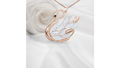 "Rose Gold Overlay Swarovski Elements Crystal Beaded Swan Pendant w/18"" Chain"