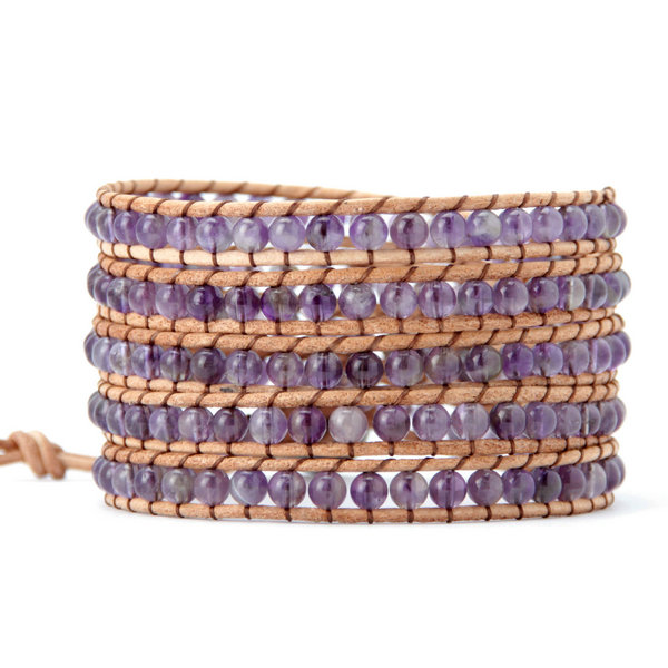 4MM Amenthyst Natural Stone Wrap Bracelet - Florence Scovel - 1