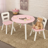 Round Storage Table & 2 Chair Set - Pink & White