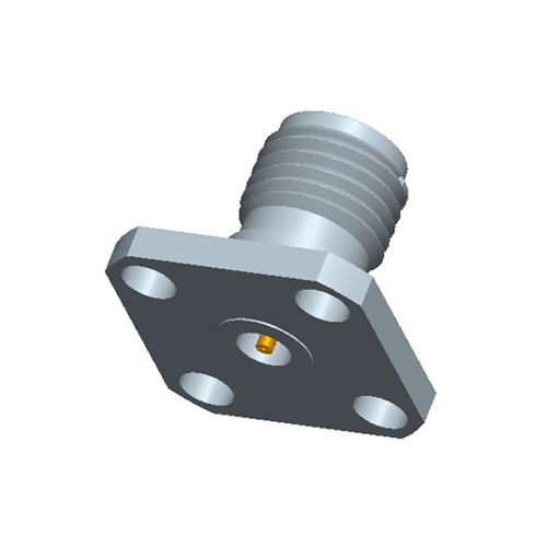 1.85mm Female Field Replaceable Connector 4-Hole Flange, 8.6mm Hole Spacing,  DC-65GHz