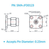 SMA Male Field Replaceable Connector 4-Hole Flange,8.6mm Hole Spacing,  DC-26.5GHz