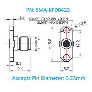SMA Female Field Replaceable Connector 2-Hole Flange,12.2mm Hole Spacing,  DC-26.5GHz