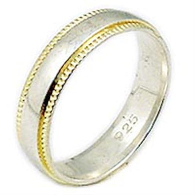 02520 - Gold+Rhodium 925 Sterling Silver Ring with No Stone in No Stone