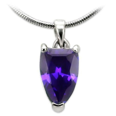 03411 - High-Polished Brass Chain Pendant with AAA Grade CZ  in Amethyst