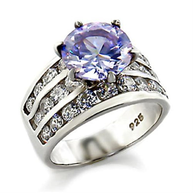 03614 - High-Polished 925 Sterling Silver Ring with AAA Grade CZ  in Light Amethyst