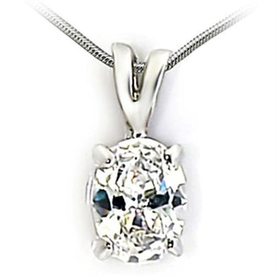03922 - Rhodium Brass Pendant with AAA Grade CZ  in Clear