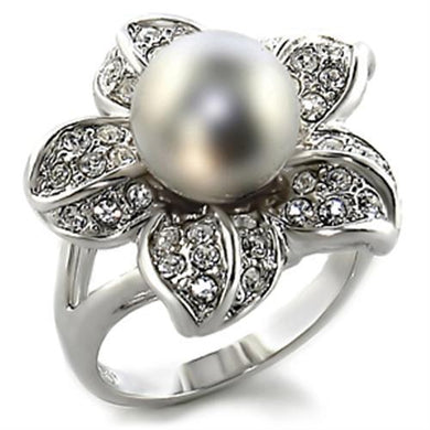 0C108 - Rhodium Brass Ring with Synthetic Pearl in Gray