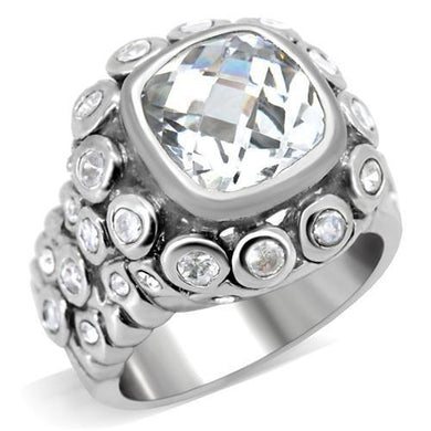 0C705 - Rhodium Brass Ring with AAA Grade CZ  in Clear