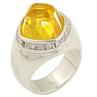 0F223 - High-Polished 925 Sterling Silver Ring with AAA Grade CZ  in Citrine