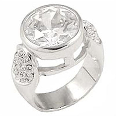 0G415 - Rhodium Brass Ring with AAA Grade CZ  in Clear