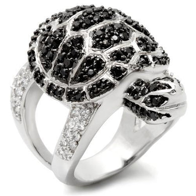 0W005 - Rhodium + Ruthenium Brass Ring with AAA Grade CZ  in Jet