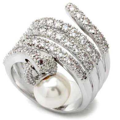 0W031 - Rhodium Brass Ring with AAA Grade CZ  in Clear
