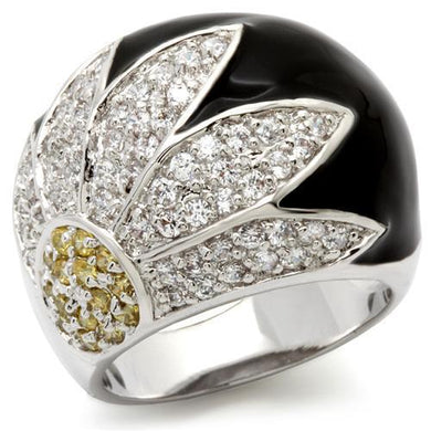 0W056 - Rhodium Brass Ring with AAA Grade CZ  in Topaz