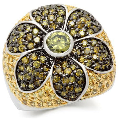 0W154 - Rhodium+Gold+ Ruthenium Brass Ring with AAA Grade CZ  in Multi Color