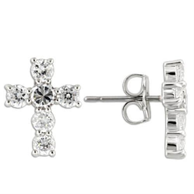 0W155 - Rhodium 925 Sterling Silver Earrings with AAA Grade CZ  in Clear