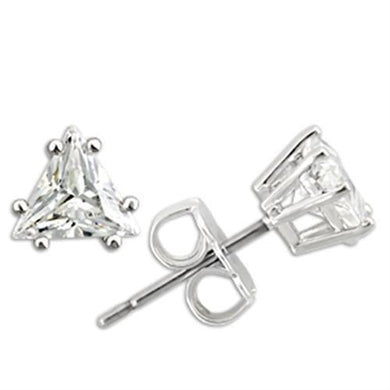 0W156 - Rhodium 925 Sterling Silver Earrings with AAA Grade CZ  in Clear