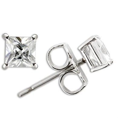 0W158 - Rhodium 925 Sterling Silver Earrings with AAA Grade CZ  in Clear