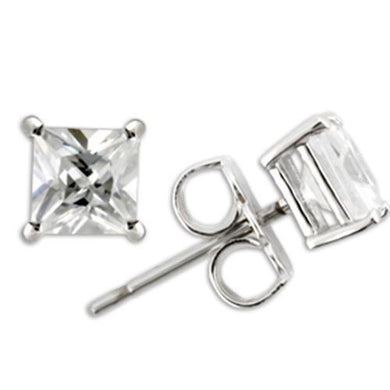 0W159 - Rhodium 925 Sterling Silver Earrings with AAA Grade CZ  in Clear
