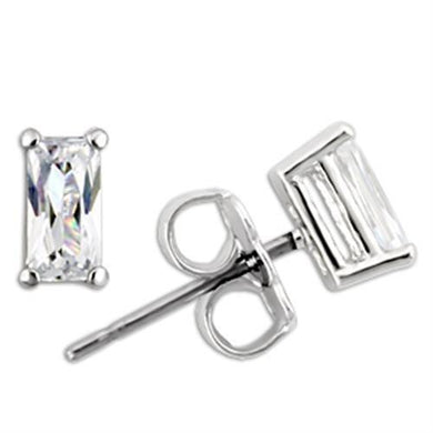 0W161 - Rhodium 925 Sterling Silver Earrings with AAA Grade CZ  in Clear