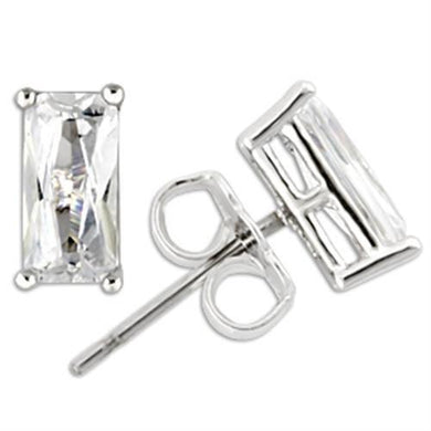 0W162 - Rhodium 925 Sterling Silver Earrings with AAA Grade CZ  in Clear