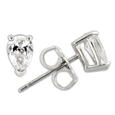 0W163 - Rhodium 925 Sterling Silver Earrings with AAA Grade CZ  in Clear